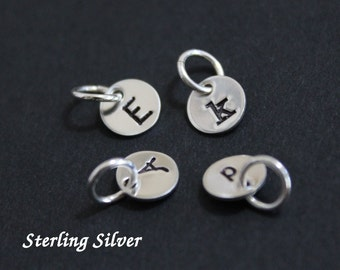 """Tiny sterling silver initial charms - 1/4"""" (6.4mm) - personalized initial charms"""