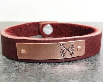 Personalized Copper and Leather Bracelet - Customized Leather Bracelet - Graduation Gift - 7th Anniversay - Hand Stamped