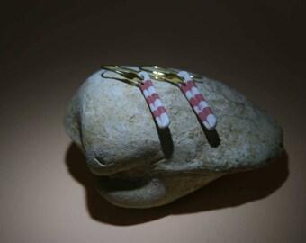 Limoges porcelain earrings, gold plated hooks