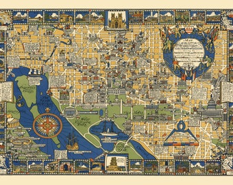 Washington DC Panoramic Street Map Vintage Print Poster