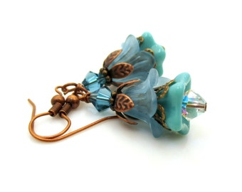 Aqua Blue Earrings, Gift for Her, Flower Earrings, Flower Jewelry, Vintage Inspired Jewelry, Beaded Earrings, Pretty Earrings, Blue Earrings