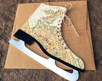 cARTography Antique Map Ice Skate cards