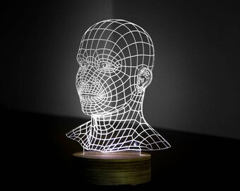 HEAD 3d illusion acrylic lamp vector file LED light. For laser cutting and engraving