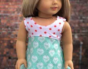 18 Inch Doll DRESS | Mixed Coral Dot Mint Print Sleeveless DRESS for Dolls such as American Girl