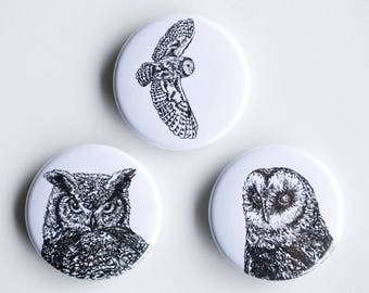 "Owl Magnets - Horned Owl, Barn Owl Set of Strong Magnets - 1.5"" - Fridge Magnets - Animal Magnet Animal Decor Woodland kitchen"