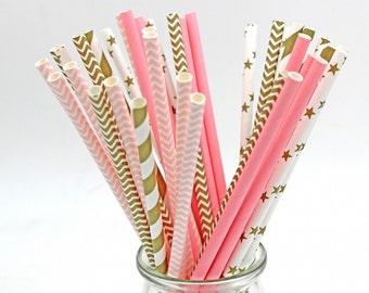 Roze of goud gestreepte papier drinken rietjes kinderen verjaardag bruiloft decoratieve partij decoratie evenement levert