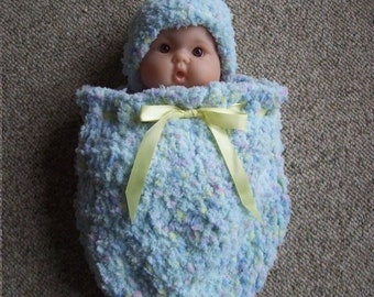 Sleep sack,cocoon,preemie,baby,blue,pink,yellow,hat,ribbon,shower,infant,photo's,crocheted