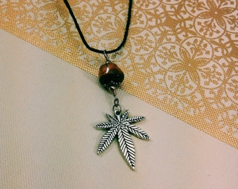 Cannabis Leaf Black Hemp Rope Necklace.