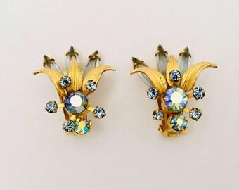Large Aurora Borealis Vintage Earrings.