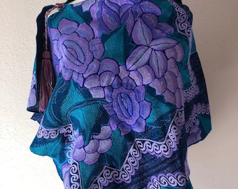 """Chiapas embroidered caplet wrap blue purpleMexican accessory highland Mayan Frida Kahlo style  23"""" W x 48"""" L - Style'18#D"""