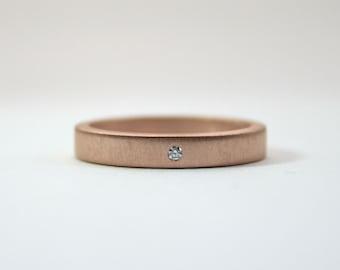 Rose Gold 18 Karat and White Diamond Engagement Ring - Modern Wedding Band -  Pink Gold Ring - Matte Finish - Flush Set Diamond