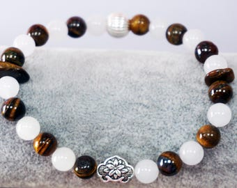 White Jade + Tiger Eyes Beaded Bracelet with Silver Charm