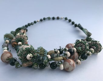 Handmade Necklace With Felt, Clay, and Stone Beads