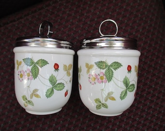 Wedgwood Wild Strawberry Egg Coddlers  England Pair