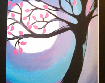 Tree Greeting Card, Whimsical Tree Art, Blank Greeting Card, 5x7 Inch Card, Pink and Purple Art, Birthday Card, Tree Painting Card