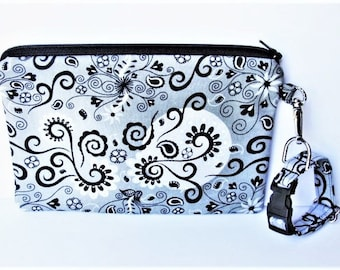 Wristlet, Wrist Purse, Phone Case for iPhone Samsung LG, Zipper Pouch, Wrist Clutch, Adjustable Wrist Strap, Paisley Fabric