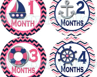 12 Monthly Baby Stickers Baby Month Stickers Baby Milestone Stickers Nautical Baby Shower Gift Precut Sailboat Baby Girl Stickers Decals se