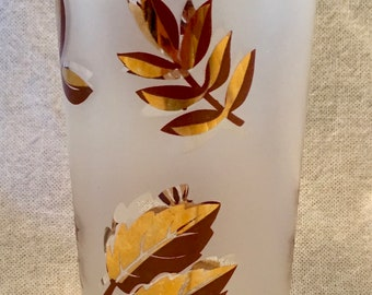 Vintage Tumbler Decorated with Gold Leaves