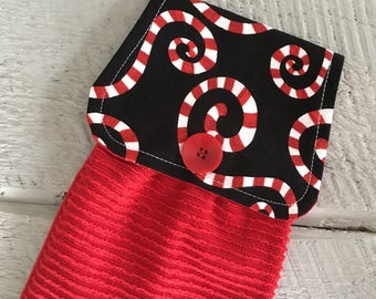 Hanging Kitchen Towel - Christmas Holiday Candy Cane Swirl Fabric Red Terry Cloth Towel Button Closure