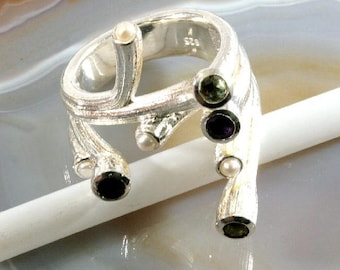 Precious stones,perls and 925 Sterling Silver Ring  --  6275