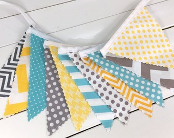 Banner Bunting Baby Boy Nursery Decor Fabric Bunting Fabric Banner Baby Shower Nursery Bunting Gray Yellow Aqua Grey Chevron