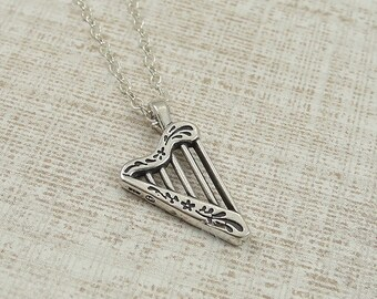 Harp Necklace, Sterling Silver Musical Harp Charm on a Silver Cable Chain
