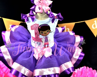 Doc McStuffins inspired Ribbon Tutu Set Shirt and Ribbon Trim Tutu Birthday Outfit with Matching Headband