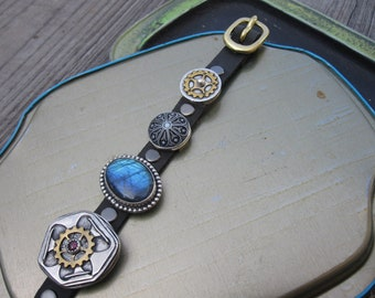 Buckle and Strap adjustable leather bracelet w unique handmade silver stone + brass artistic slide links - One Of A Kind signature style