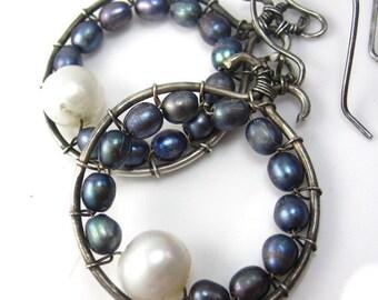 SALE 10%  SHIP UPGRADE Pearl Ring Earrings
