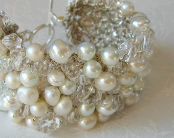 Bridal Wedding Pearl Crystal Statement Cuff Bracelet,SOFT PURE WHITE Glass Freshwater, Baroque, Unique  Hand Knit  Exclusive, Sereba Designs
