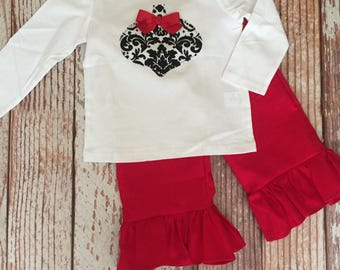 Holiday Ruffle Pant Outfit - Damask - Red -  Christmas Outfit - Ruffle Pant Outfit - Baby Girl/ Toddler Girl - Sizes 12M thru 4T