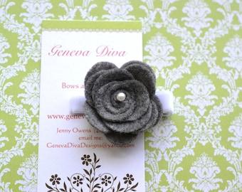 NEW...Felt Rosette Hairclip in Charcoal Gray