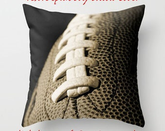 Football Pillow Cover-Sports Pillow-Sofa Pillow Cover-Sports Decor-Square Pillow-16 inch Pillow Cover-Football Decor-Family Room Decor