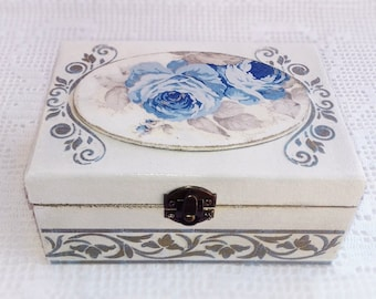 Wooden Jewelry Box Handmade Decoupage White Storage Box With Blue Flowers and Gold Details For Home Decor