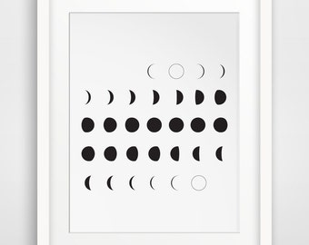 Moon Art, Moon Calendar, Printable Art, Moon Phases, Black and White, Moon Print, Moon Art Print, Printable Art, Wall Prints, Moon Wall Art