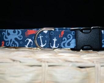 Dog Collar – Summer Dog Collar –  Sea Creature Dog Collar - Handmade Everyday Fabric Dog Collar