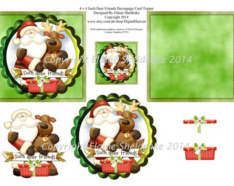 4 x 4 Such Deer Friends Decoupage Card Toppers