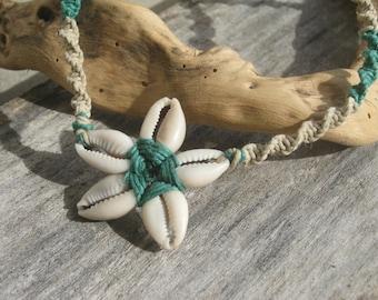 Cowrie Shell Green Flower Hemp Macrame Necklace, Adjustable