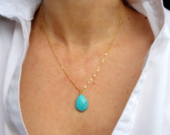16k gold turquoise necklace, Delicate gold turquoise necklace, Delicate necklace, Gemstone necklace, Valentines gift