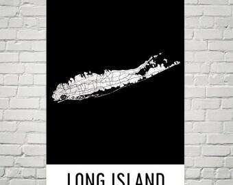 Long Island Map, Long Island Wall Art, Long Island Art, Long Island NY, Map of Long Island, Long Island Poster, Birthday, Gift, Art
