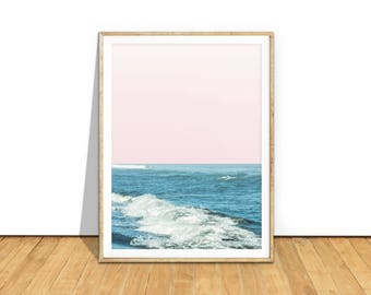 Ocean Wall Art Print, Beach Print, Beach Printable Art, Ocean Waves, Pastel Pink Home Decor, Ocean Poster, Ocean Digital Download, b8cp2