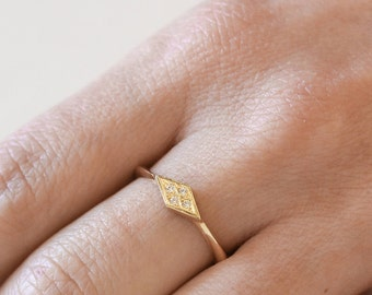 Geometric Gold Ring, 14K Solid Gold Ring, Diamond Shape Ring, Gold Ring With Diamond, Modern Engagement Ring, Engagement Ring, Rhombus Ring