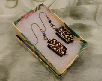 Purple Czech Glass Bead Earrings