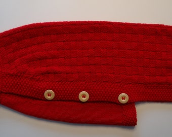 Hand knitted red dog sweater for larger dogs
