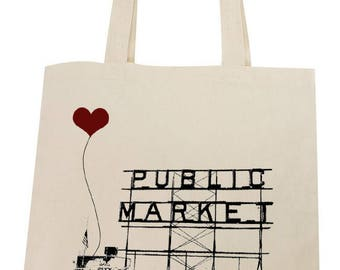 Seattle Pike Place Market Lightweight Cotton Tote Bag