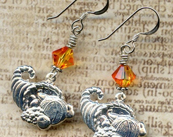 Horn of Plenty Sterling Silver Earrings