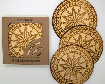 Wooden Coasters, Laser engraved Coasters, Drink Coasters, Set of 4 Wood Coasters, Wedding Coasters, New Home Gift Housewarming Gift New Home