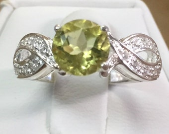 Lemon Citrine Ring in Petite Antique Look Sterling Setting Size 7