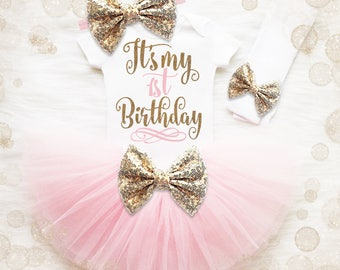 1st Birthday Girl Outfit | Pink And Gold 1st Birthday Girl Outfit | First Birthday Girl Shirt | It's My 1st Birthday | Birthday Tutu Set