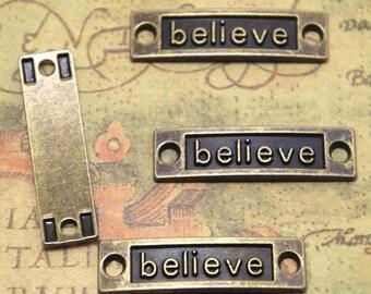 15pcs Believe charms bronze tone Rectangle believe Charms Connectors,believe pendants believe Tag Charm Connector 10x36mm ASD1800